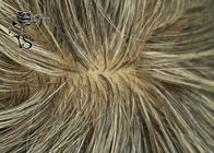 Indian Remy Hair Silk Base Mens Gray Toupee , Thin Skin Human Hair Replacement System