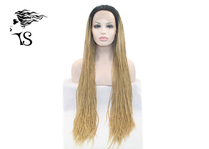 Blonde Long Synthetic Twist Braid Lace Front Wig , Box Braid Lace Wig With Dark Roots