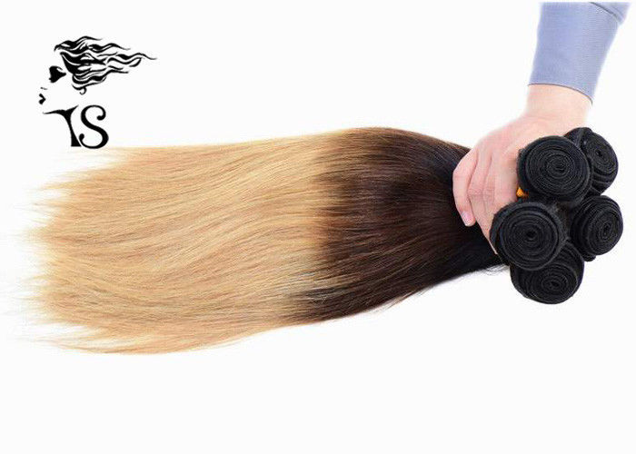 8A Silky Straight Long Ombre Human Hair Extensions with Black Brown Blonde 3 Color